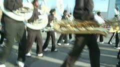 High school marching band at parade - stock footage