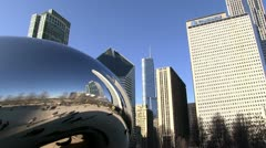 Chicago buildings reflecting in Cloud Gate Stock Footage