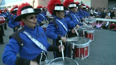 Drummers in marching band Stock Footage