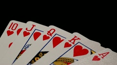 cards royal flush tilt down - stock footage