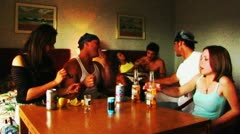 Young Adults Drinking, Doing Drugs In Motel Stock Footage