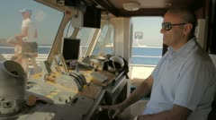 Captain on a boat. Stock Footage