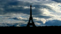 France Eiffel tower clouds Stock Footage