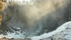 Webster's Falls - water running over the top and mist Stock Footage