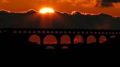 France Pont du Gard sunset Stock Footage