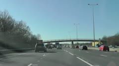 Time Lapse driving M25 motorway joining the M3 going West Stock Footage