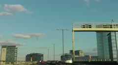 High speed drive on the elevated section of the M4 London Stock Footage