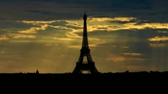 France Eiffel tower sunbeams - stock footage