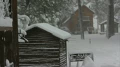 Snow Storm Houses Stock Footage