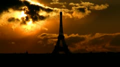 France Eiffel tower sungliding Stock Footage