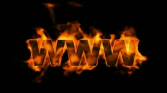 Www,burning internet word,web text. Stock Footage