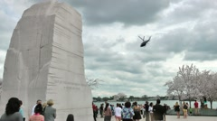 Chopper swoops overhead - MLK Memorial, Tidal Basin Stock Footage