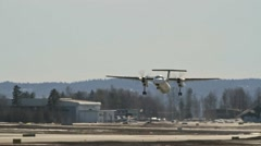Wideroe DHC-8-100 take off Stock Footage