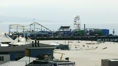 Santa Monica Pier Amusement Park & Arcade Stock Footage
