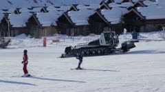 Piste Basher at Reberty Stock Footage