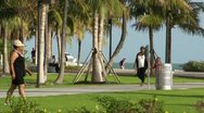 Stock Video Footage of Miami Beach South Point Park HD