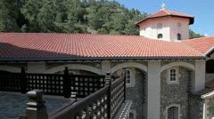 Cyprus Kykkos monastery in the mountains of Trodos. - stock footage
