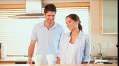 Couple drinking coffee in the morning Stock Footage