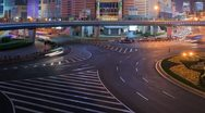 Busy traffic in Shanghai at night, time-lapse Stock Footage