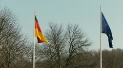 German and European Flag Stock Footage