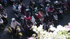 TRAFFIC TIME LAPSE: Bangkok  - Overhead view traffic stopping and starting again Stock Footage
