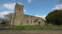 Village Church in Oxfordshire, Extreme wide angle Stock Footage
