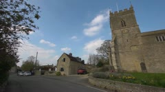 Village Church in Oxfordshire, Extreme wide angle, Pan right Stock Footage