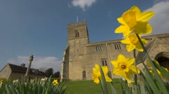 Spring with daffodils and Church in Oxfordshire, Looking up. 3 Stock Footage
