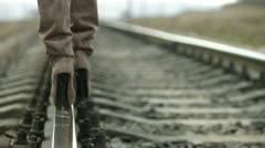 Spike Heels On The Rail Stock Footage