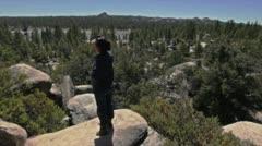 High Mountain Exploration Girl Stock Footage