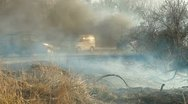 Stock Video Footage of Grass Fire On Roadside