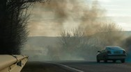 Stock Video Footage of Forest fire on the roadside