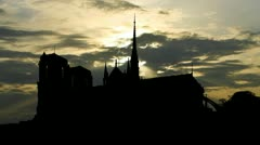 France Paris The Cathedral of Notre Dame sunpassing Stock Footage