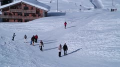People walking at Tignes Le Lac, France Stock Footage