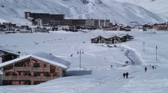 Tignes Le lac in winter - pan left to right Stock Footage