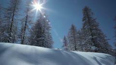 Snowy scene and sunshine on the Via Lattea, Italy Stock Footage