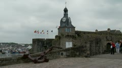 Entrance to walled town of Concarneau, France Stock Footage