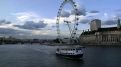 245 time lapse, London Eye + ship Stock Footage