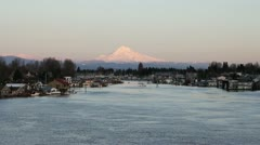 Stock Video Footage of Mount Hood along Columbia River