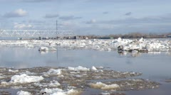 Railway bridge by springtime.Ice drift Stock Footage