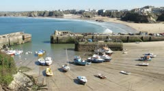 Newquay harbour incoming tide timelapse, Cornwall UK. - stock footage