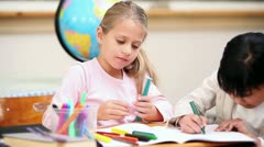 Stock Video Footage of Pupils coloring