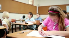 Pupil writing Stock Footage