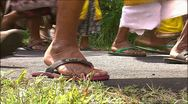 Stock Video Footage of Procession of flip-flops