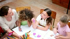 Pupils drawing with coloring pens Stock Footage