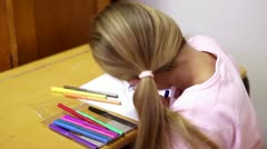 Stock Video Footage of Blonde girl coloring