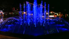 Night illuminated fountain Stock Footage