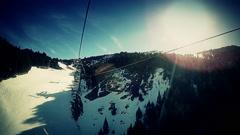 Ski elevator view Stock Footage