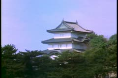 The Imperial Palace in Tokyo, close up of one building Stock Footage