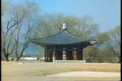 A scene of South Korea near Pusan with a Buddhist Temple Stock Footage